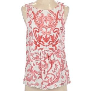 Lucky Brand Red White Embroidered Top Small